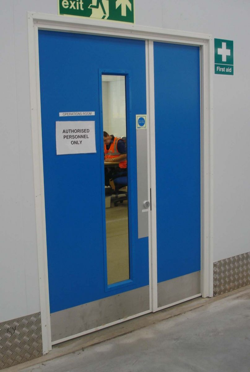 double personnel door with long vision panels