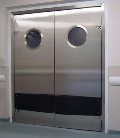 Round vision panel on double swing personnel door